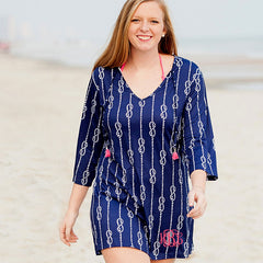 navy tunic in knot pattern