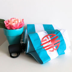 monogrammed aqua stripe umbrella