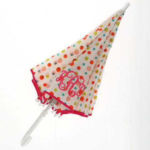 Childs Monogram Umbrella - Polka Dot