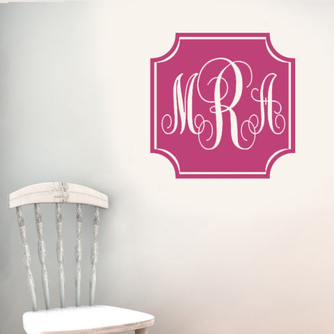 Vintage Square Solid Monogram Wall Decal-Design It