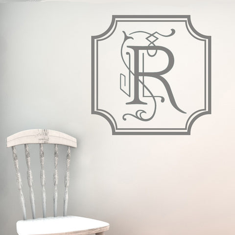 Vintage Square Open Monogram Wall Decal-Design It