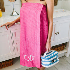 pink waffle wrap with monogram