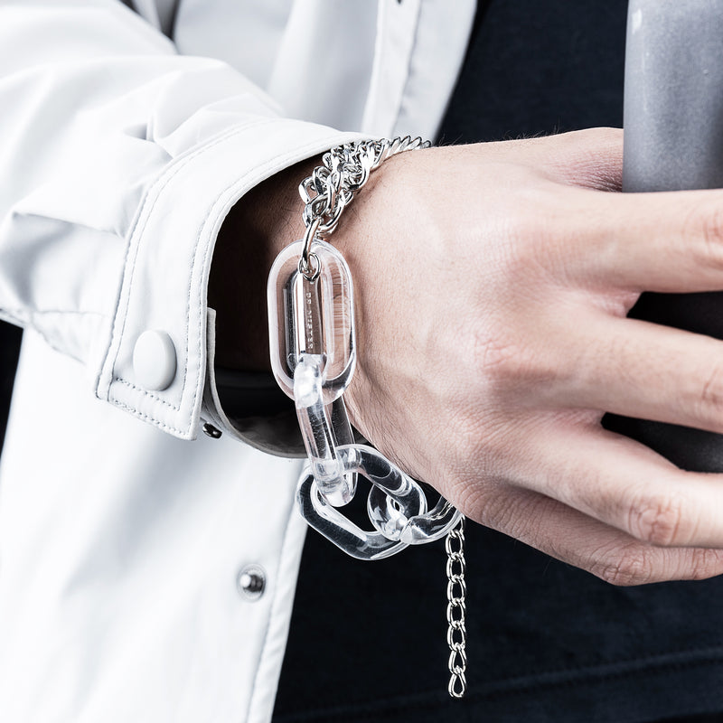 """Essential"" Lucid Twin Chain Bracelet - Clear"