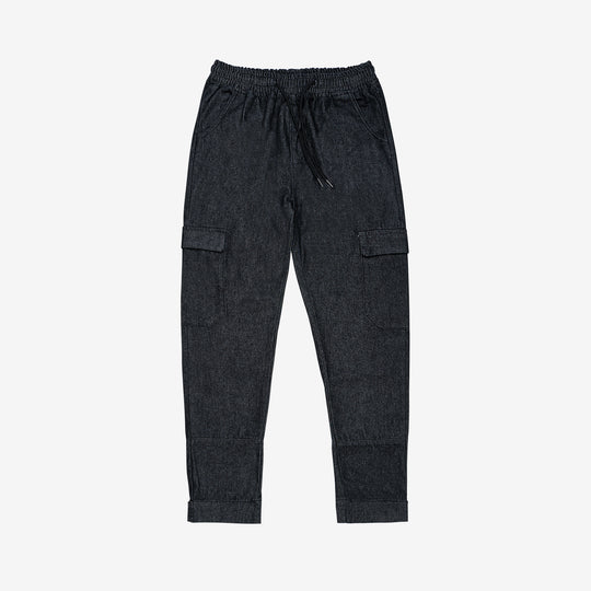 """Essential"" Banded Denim Cargo Pant- Charcoal Black"