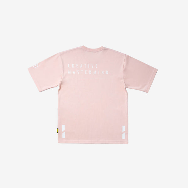 """Creative Mastermind"" Oversized Pocket T-shirt Beige Pink"