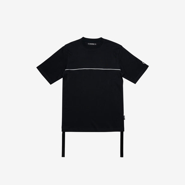 """Essential"" Piped Oversized Double Strap T-shirt - Black (Limited)"