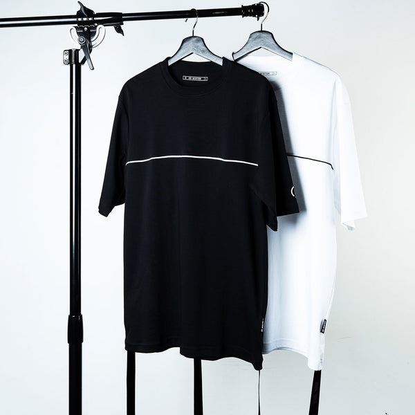 """Essential"" Piped Oversized Double Strap T-shirt - White (Limited)"