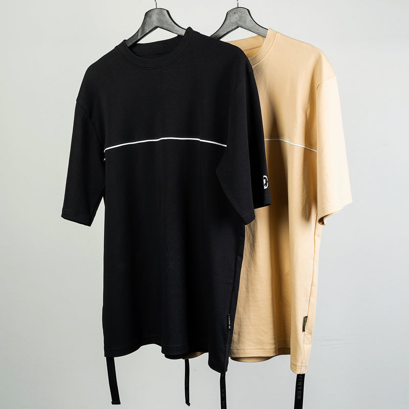 """Essential"" Piped Oversized Double Strap T-shirt 2.0 - Beige"