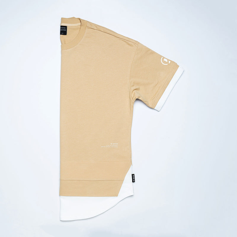 """Essential"" Scallop Layer Oversized T-shirt - Beige"