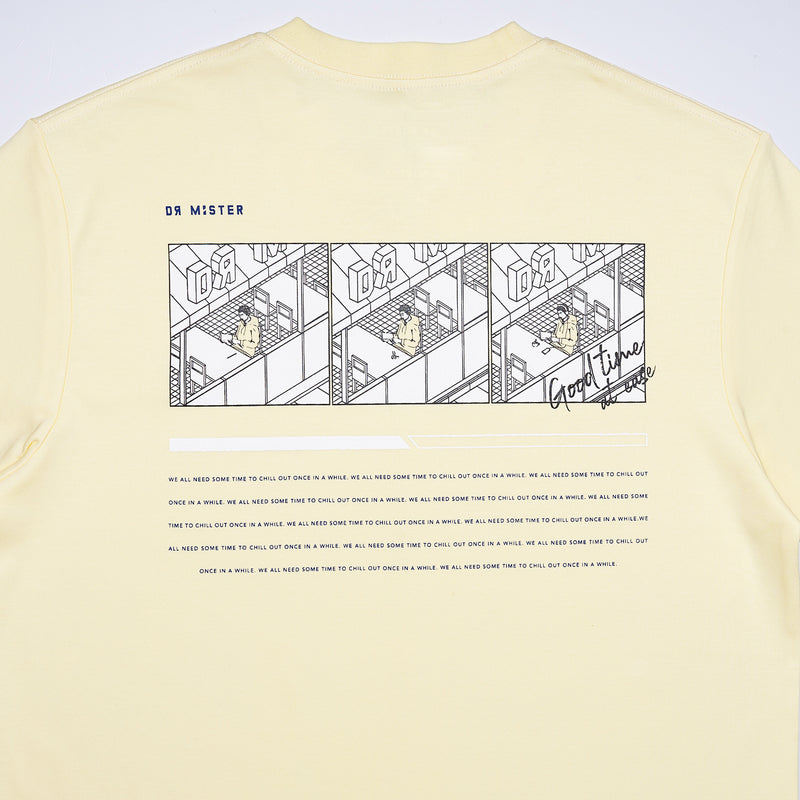 """Good Time At Ease"" Chill Out T-shirt - Cream Yellow"