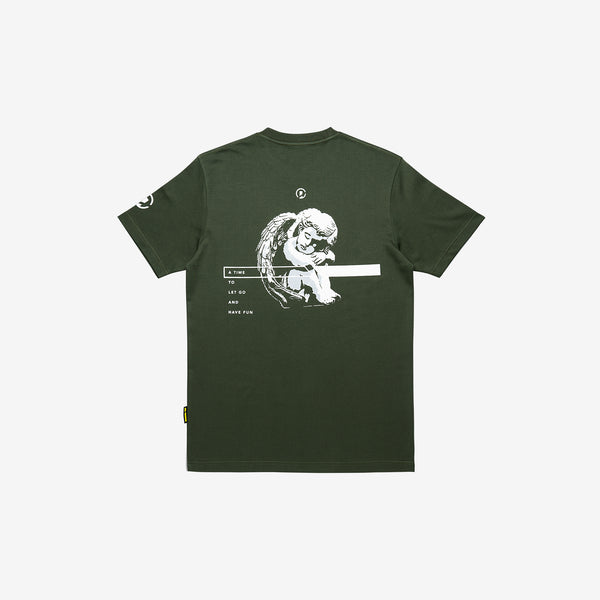 """Good Time At Ease"" Sleeping Angel T-shirt - Olive Green"