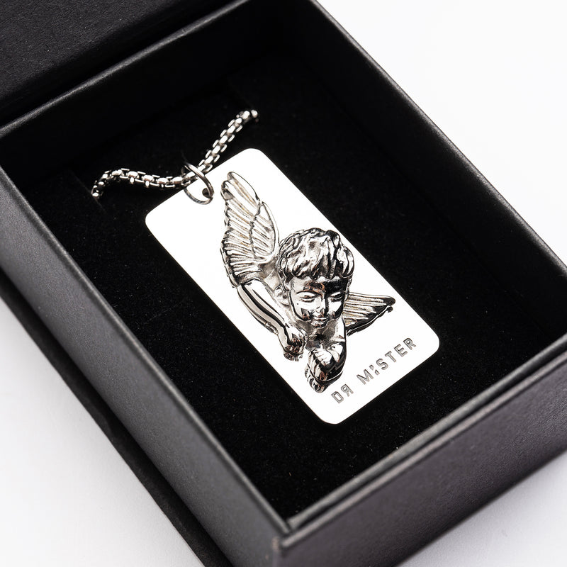 """Good Time At Ease""  Sleeping Angel Pendant Necklace Silver"