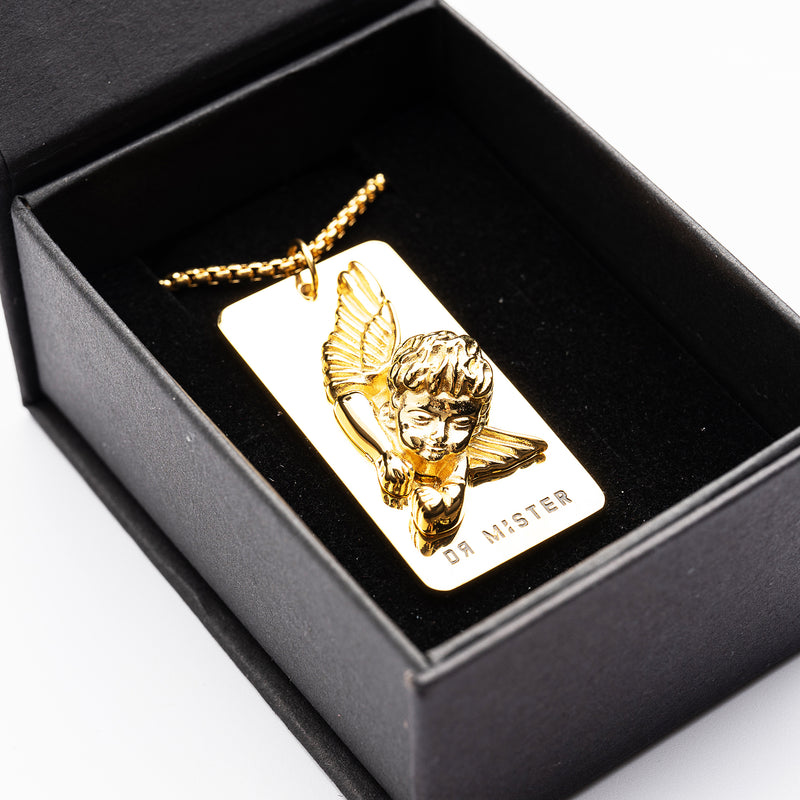 """Good Time At Ease""  Sleeping Angel Pendant Necklace Gold"