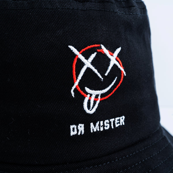 """Mischief"" Strap Bucket Hat - Black (coming soon)"