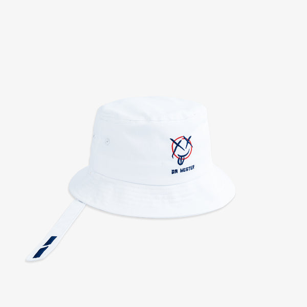 """Mischief"" Strap Bucket Hat - White (coming soon)"