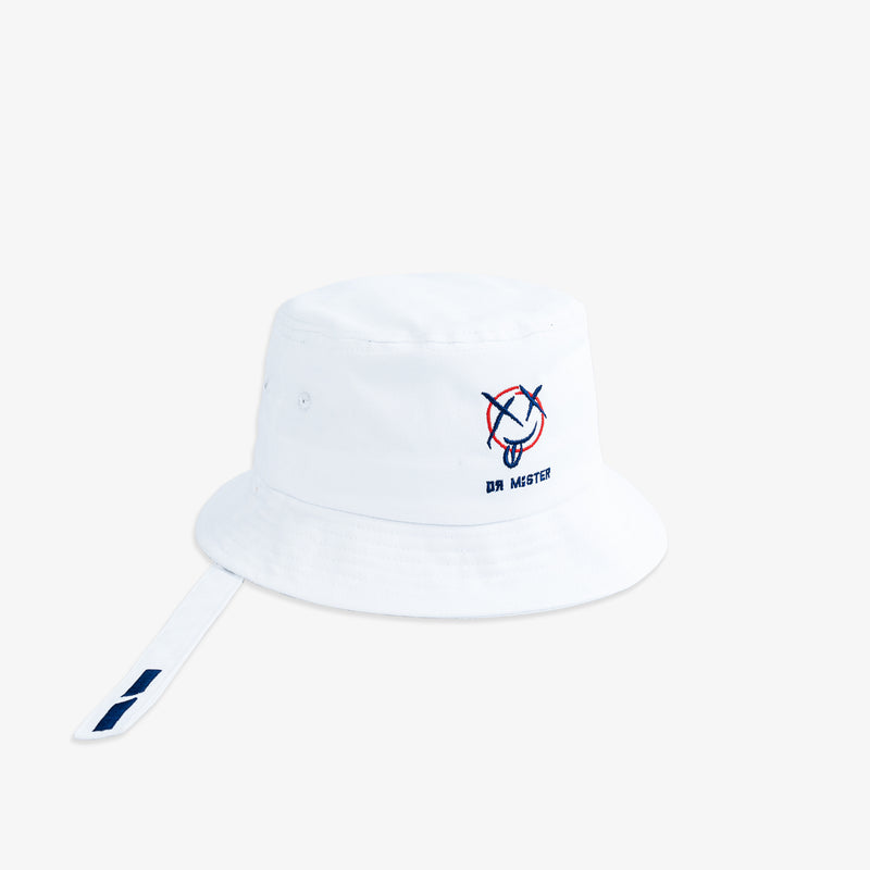 """Mischief"" Strap Bucket Hat - White"
