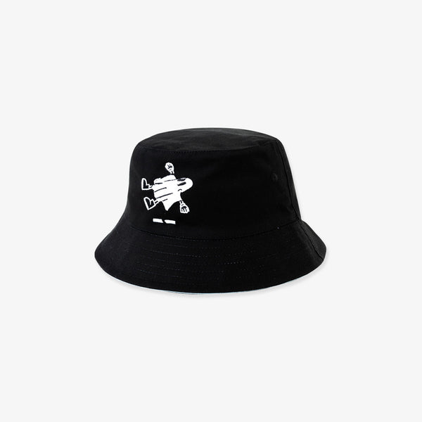 """Nonsocial Being"" Reversible Bucket Hat- Black/Cool Grey"