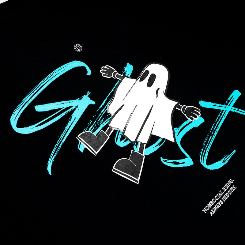 """Nonsocial Being"" Ghost Oversized T-shirt- Black"