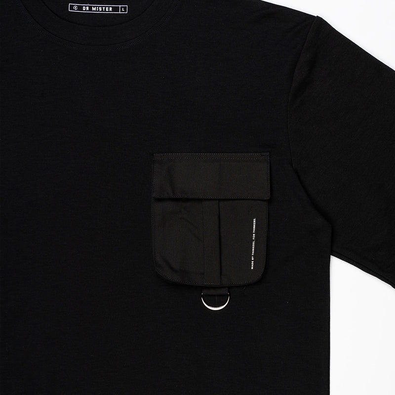 """Essential"" T-Pocket Oversized T-shirt - Black/Black"