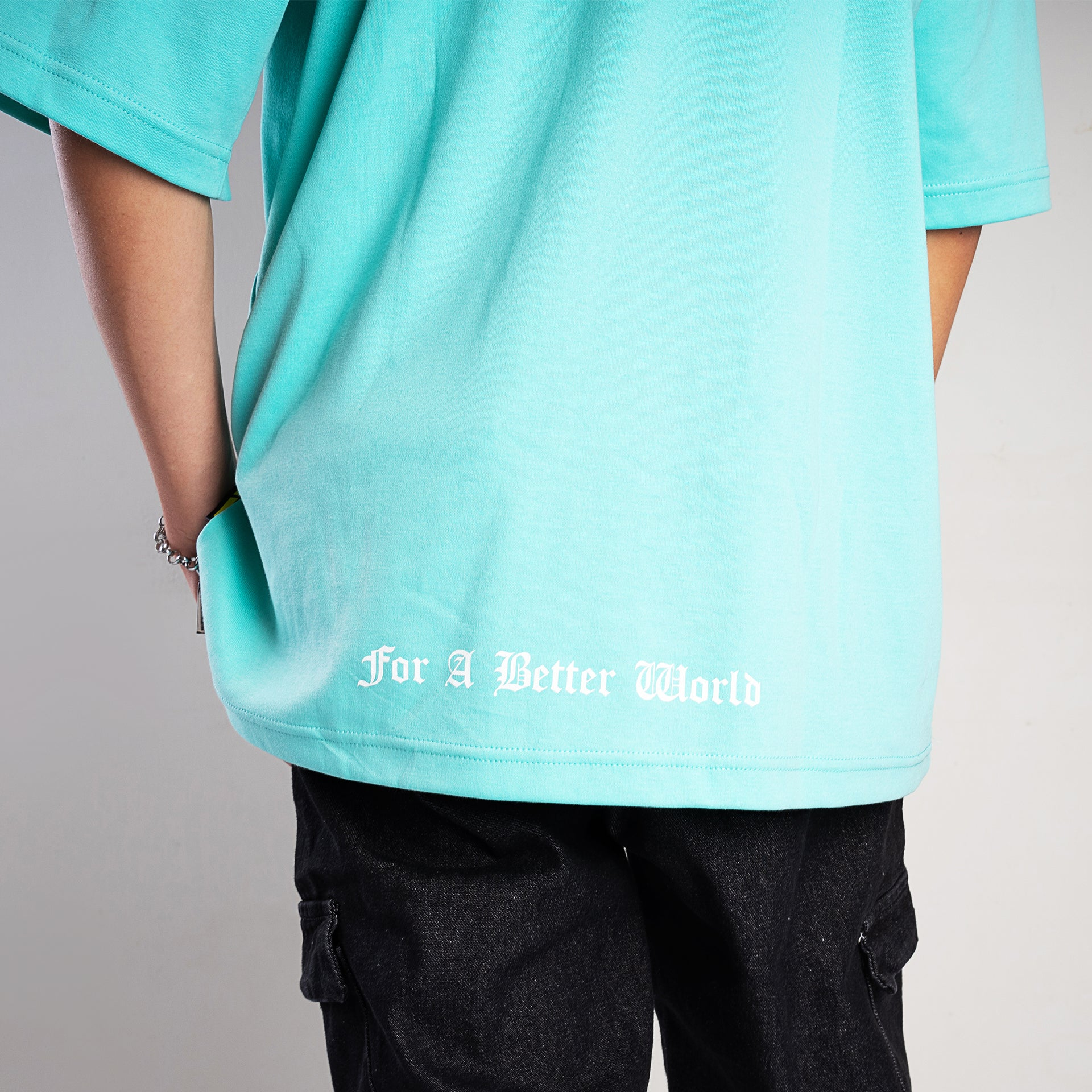 """The Famed Unknown"" Music Oversized T-shirt - Mint Green"