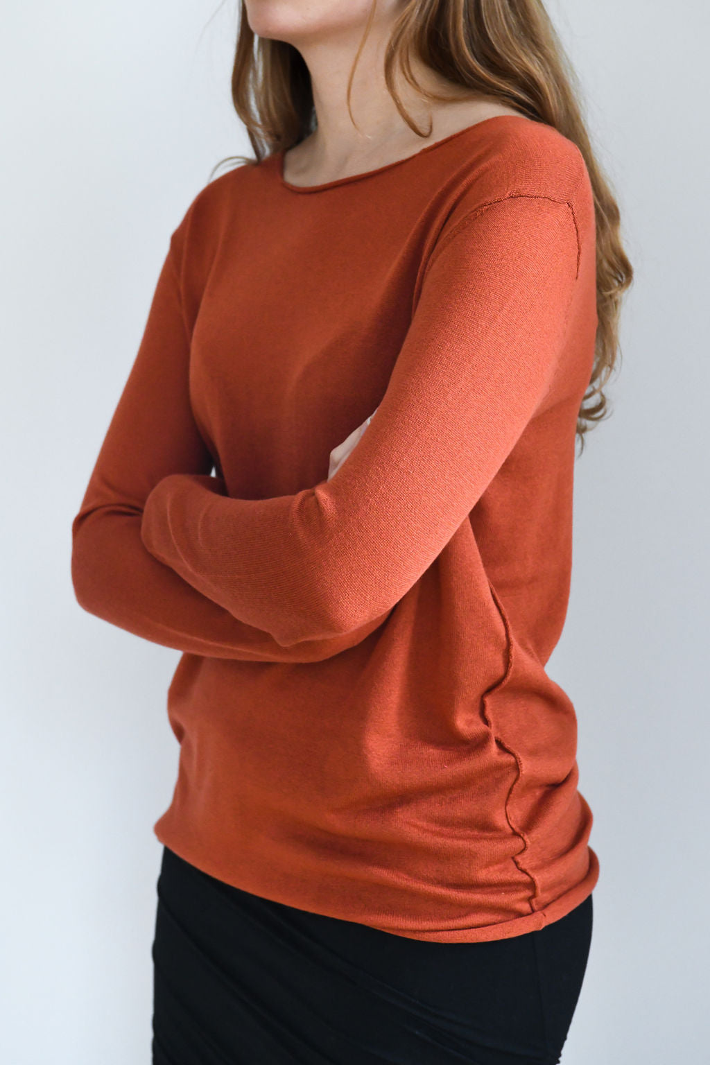 Burnt orange (Harissa) silk cashmere sweater