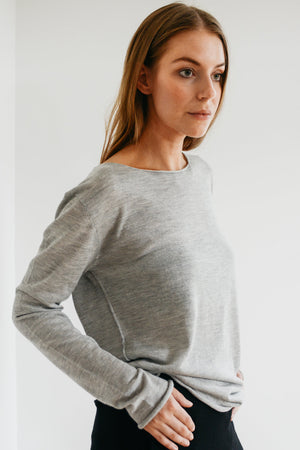 Foggy grey silk cashmere knit
