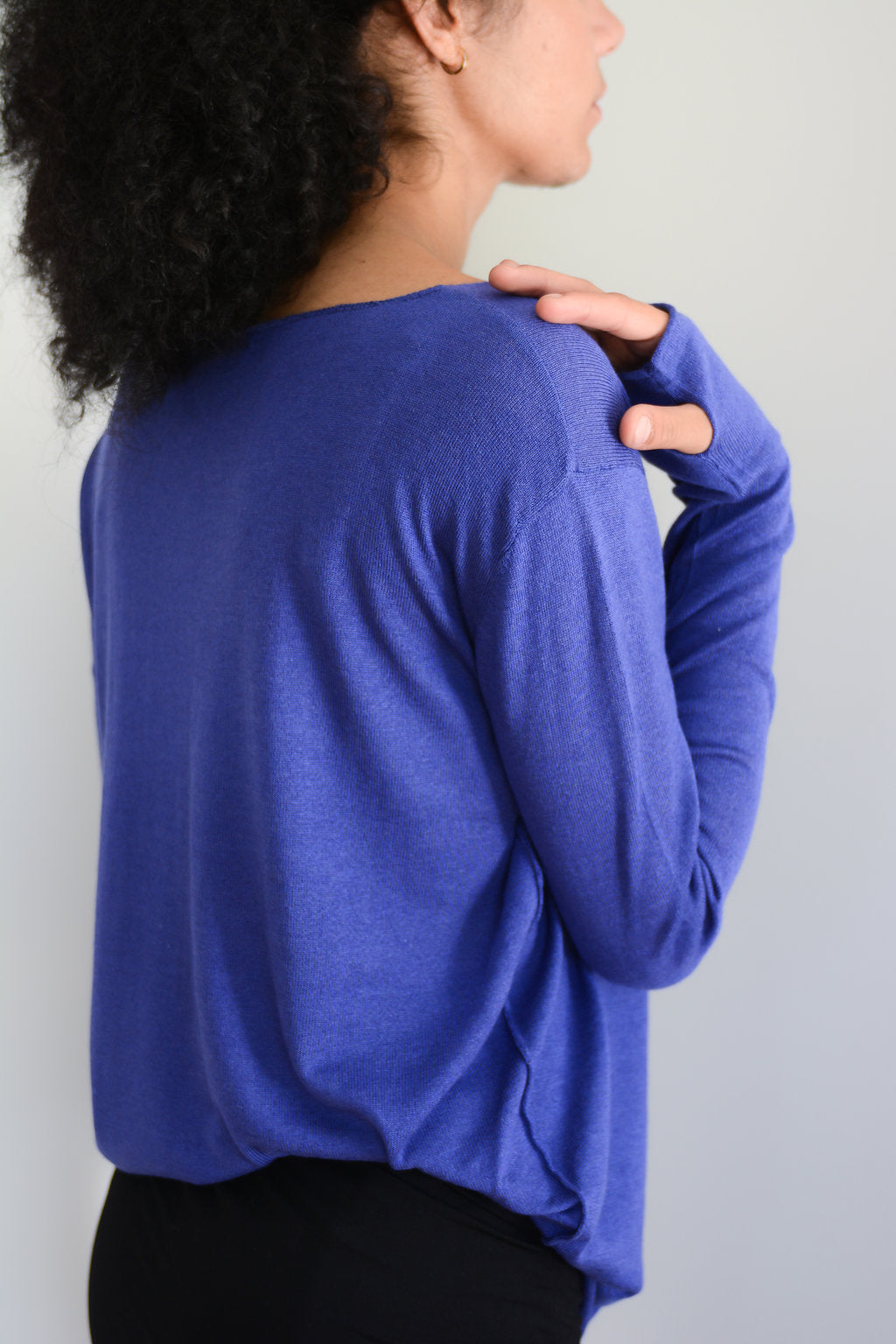 Blue silk cashmere sweater