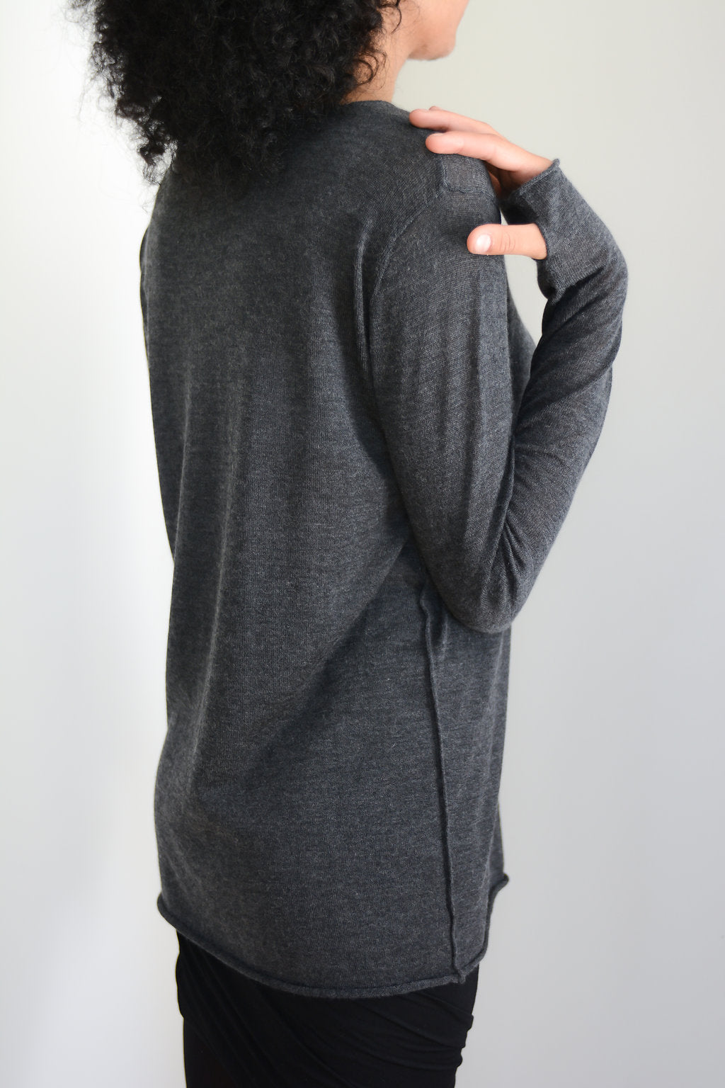 Charcoal Grey silk cashmere sweater