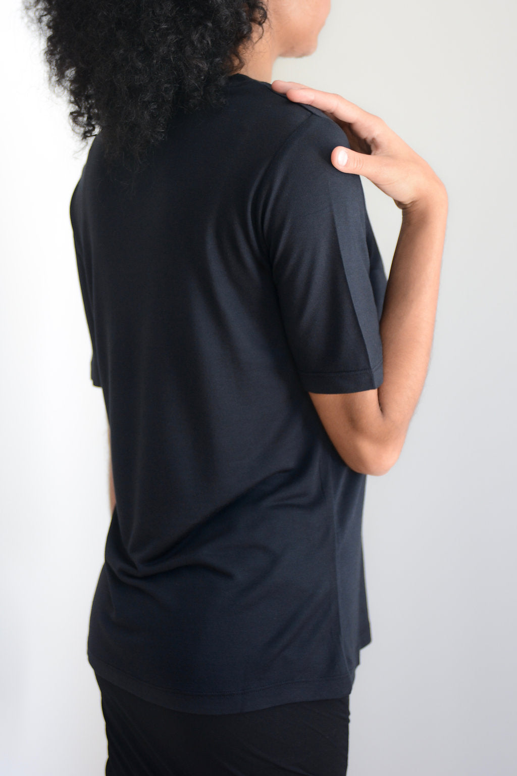 Black crewneck Tencel Tee
