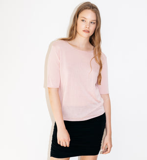 Blush short sleeved silk cashmere knit