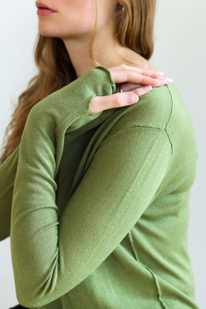Willow green silk cashmere sweater