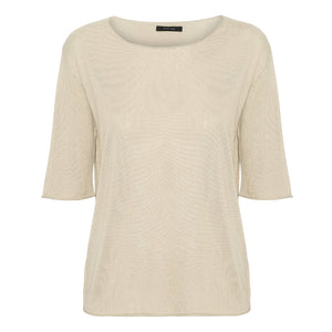 Ivory short sleeved silk cashmere knit