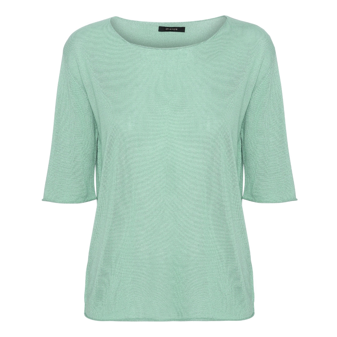 Mint short sleeved silk cashmere knit