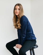 Load image into Gallery viewer, Navy Silk Cashmere Sweater