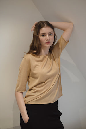 Camel short sleeved silk cashmere knit