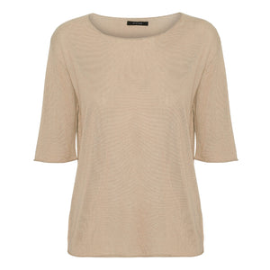 Sandstone short sleeved silk cashmere knit