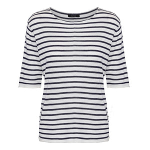 Short sleeved striped silk cashmere knit