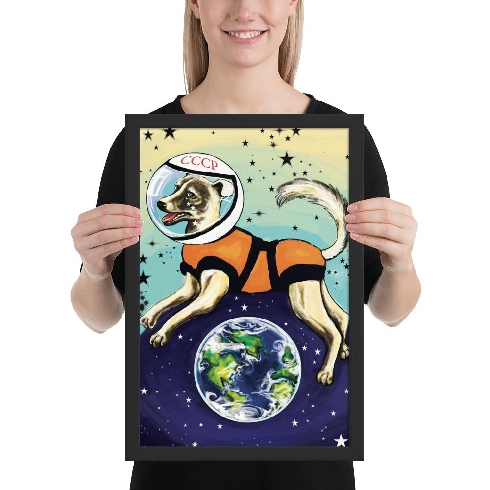 Laika CCCP Space Dog Framed Print - STRATONAUT Shop