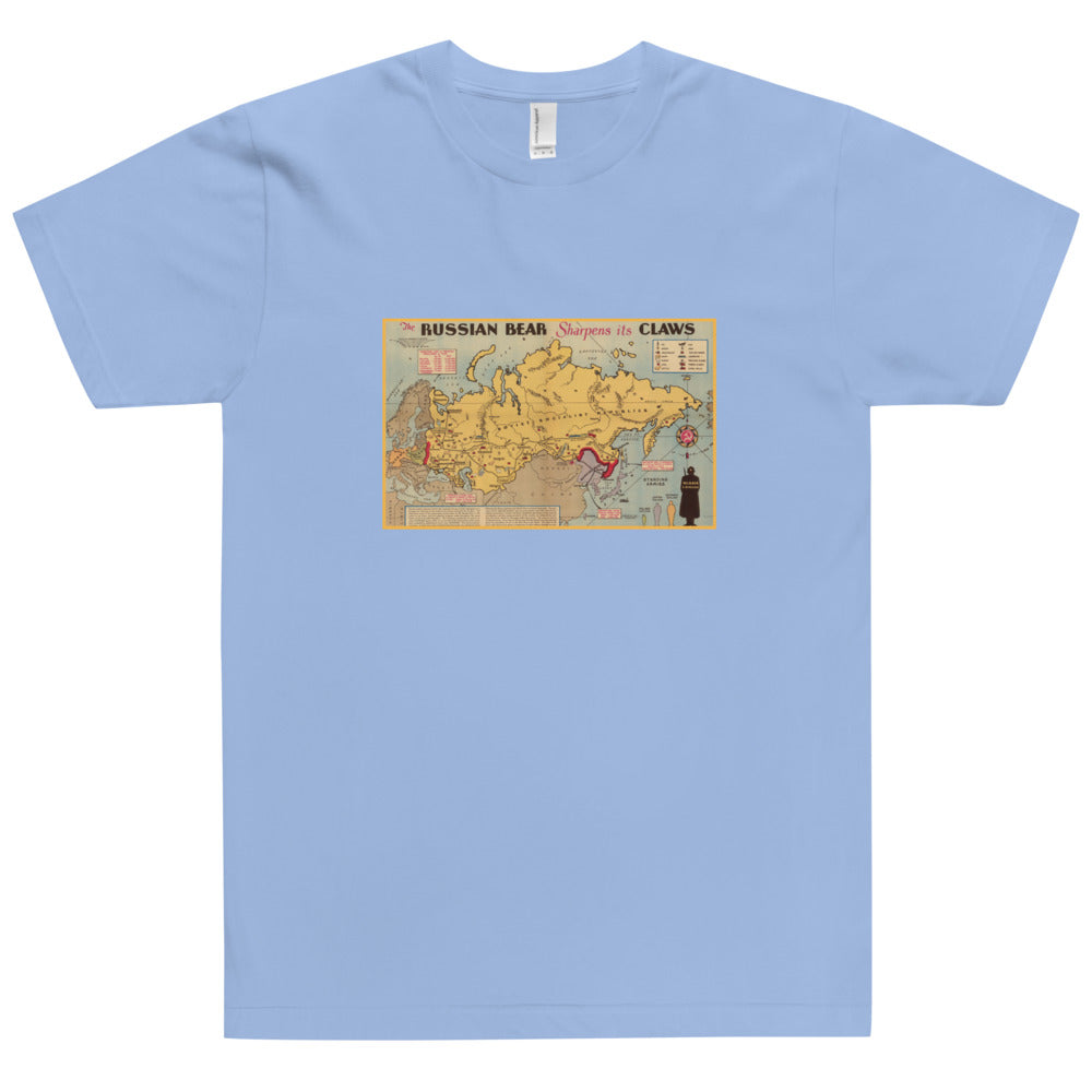 RUSSIAN BEAR Vintage Map Shirt (American Apparel)