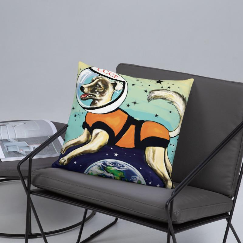 Laika CCCP Space Dog Art Pillow 18 x 18