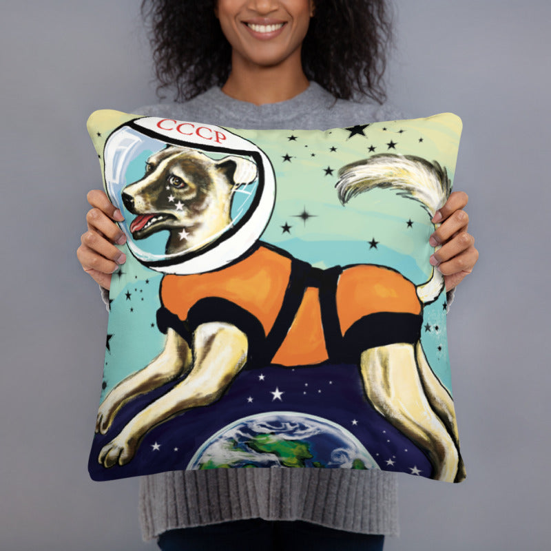 Laika CCCP Space Dog Art Pillow