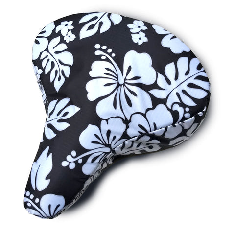 Black & White Hibiscus Cushy Bike Seat Cover - Newport Cruisers