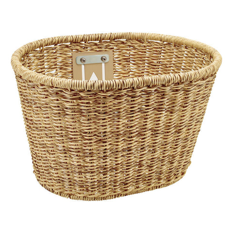 Plastic Woven Basket Light Brown