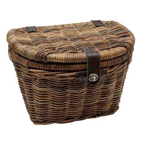 Rattan Woven Basket With Lid Brown