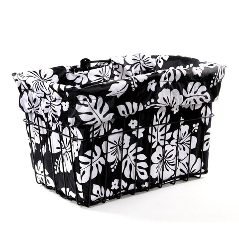 Black White Hibicus Basket Liner