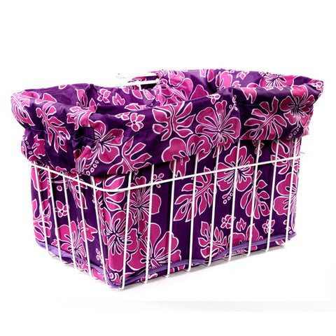 Pink Purple Hibiscus Basket Liner