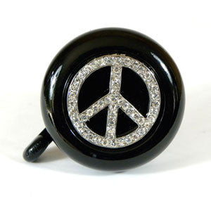 Black Peace Sign Bling Bell