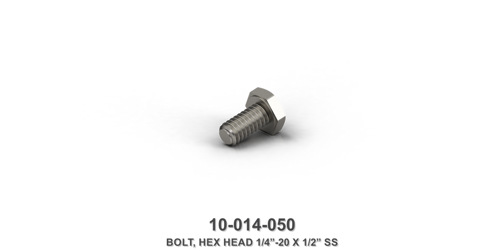 "1/4""-20 x 1/2"" Stainless Steel Hex Head Bolt"