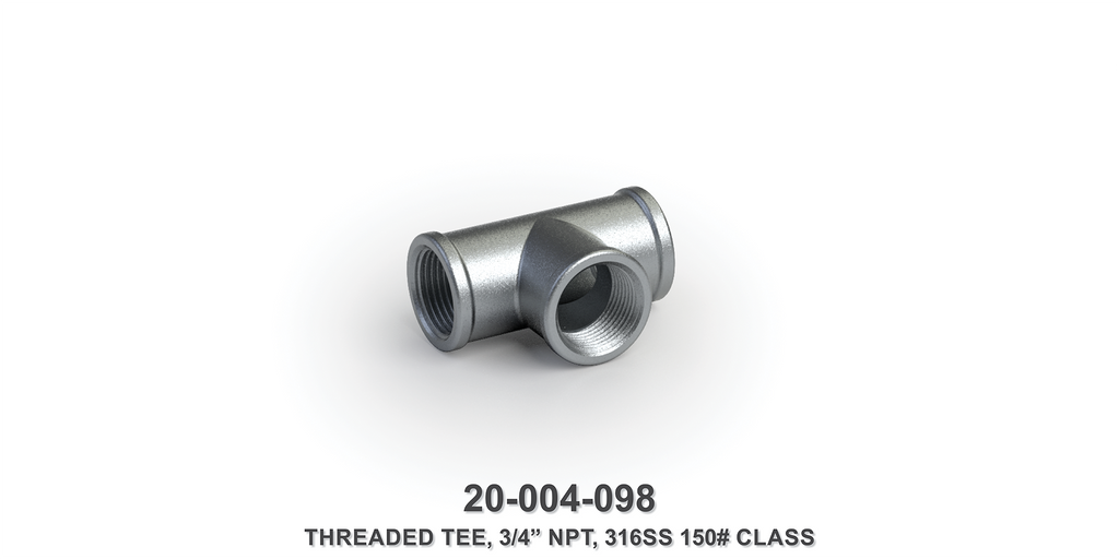 "3/4"" NPT Threaded Tee, 316 Stainless Steel, 150# Class"