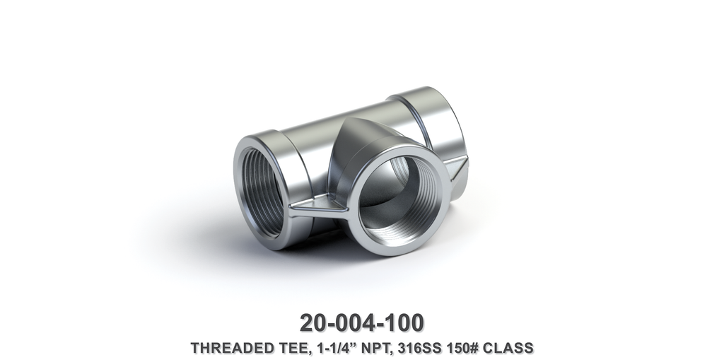 "1-1/4"" NPT Threaded Tee, 316SS 150# Class"